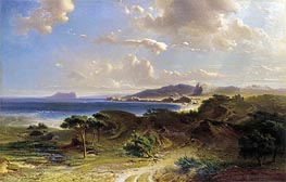 The Beach at Estepona with a View of the Rock of Gibraltar, 1855 by Fritz Bamberger | Painting Reproduction