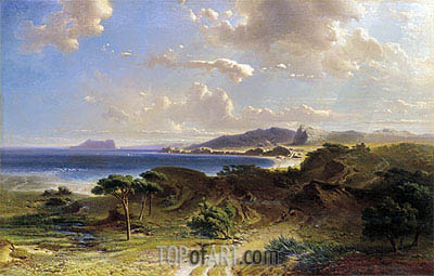The Beach at Estepona with a View of the Rock of Gibraltar, 1855 | Fritz Bamberger | Painting Reproduction