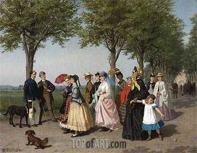 The Ladies' Promenade,  | Fritz Paulsen | Painting Reproduction