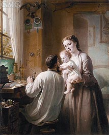 The Watchmaker and His Family, undated by Zuber-Buhler | Painting Reproduction