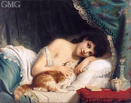 A Reclining Beauty with Her Cat | Zuber-Buhler | outdated
