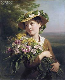 A Young Beauty Holding a Bouquet of Flowers | Zuber-Buhler | Painting Reproduction