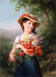 Girl with a Bouquet of Flowers | Zuber-Buhler | Painting Reproduction