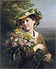 A Young Beauty Holding a Bouquet of Flowers | Fritz Zuber-Buhler