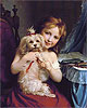 A Young Girl with a Bichon Frise | Fritz Zuber-Buhler