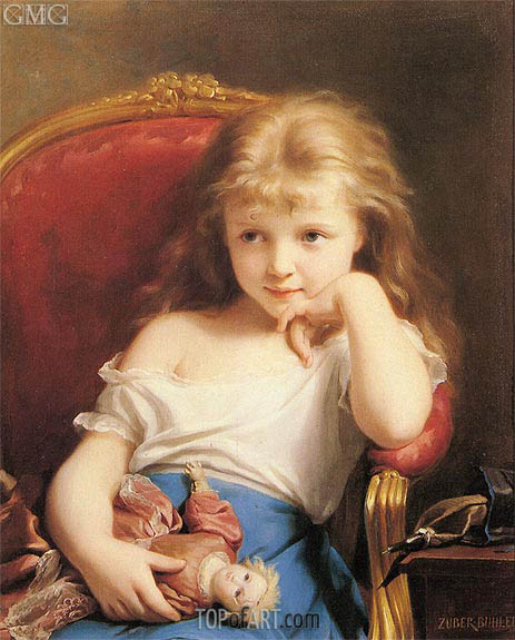 Young Girl Holding a Doll, undated | Zuber-Buhler | Gemälde Reproduktion