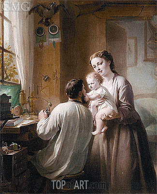 The Watchmaker and His Family, undated | Zuber-Buhler | Gemälde Reproduktion