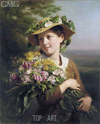 A Young Beauty Holding a Bouquet of Flowers, undated | Zuber-Buhler | Painting Reproduction