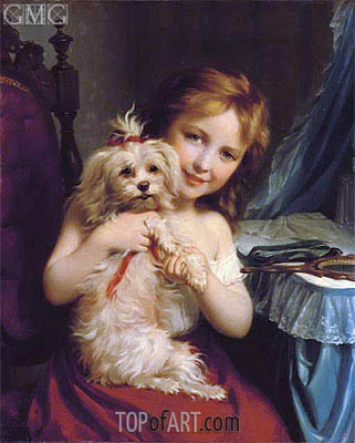 A Young Girl with a Bichon Frise, undated | Zuber-Buhler | Gemälde Reproduktion
