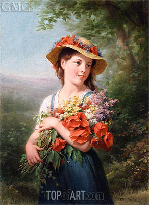 Girl with a Bouquet of Flowers, undated | Zuber-Buhler | Painting Reproduction