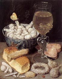 Still Life with Bread and Confectionery, undated by Georg Flegel | Painting Reproduction