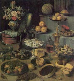 Large Food Display, undated by Georg Flegel | Painting Reproduction