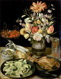Still Life with Flowers and Snacks, c.1630/35 von Georg Flegel | Gemälde-Reproduktion