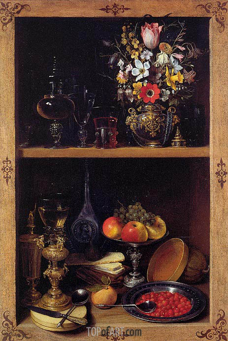 Cupboard Picture with Flowers, Fruit and Goblets, c.1610 | Georg Flegel | Gemälde Reproduktion
