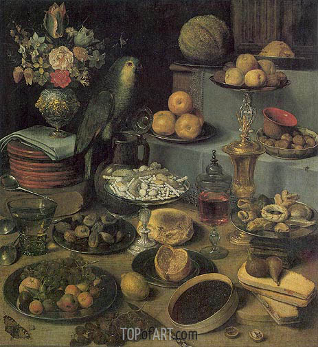 Large Food Display, undated | Georg Flegel | Painting Reproduction