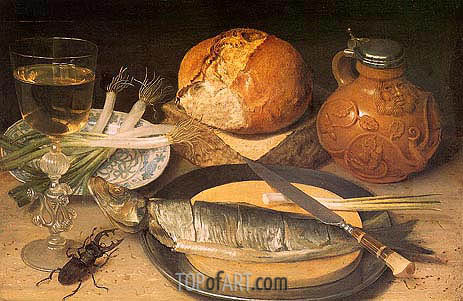 Fish Still Life with Stag-Beetle, 1635 | Georg Flegel | Painting Reproduction