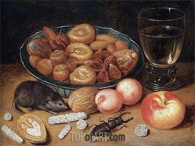 Still Life with Chestnuts and Hazelnuts, undated | Georg Flegel| Painting Reproduction