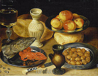 Meal with Pike Head, undated | Georg Flegel | Painting Reproduction