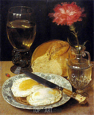 Snack with Fried Eggs, undated | Georg Flegel| Painting Reproduction