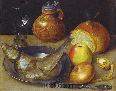 Still Life with Herring and Bearded Man Jug, undated | Georg Flegel| Painting Reproduction