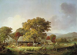 Autumn in New England, Cider Making, 1863 by George Henry Durrie | Painting Reproduction