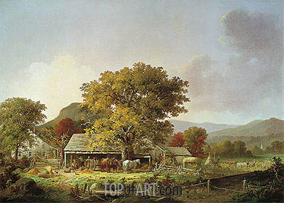 Autumn in New England, Cider Making, 1863 | George Henry Durrie | Painting Reproduction