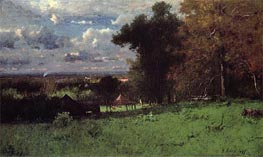 A Breezy Autumn, 1887 by George Inness | Painting Reproduction