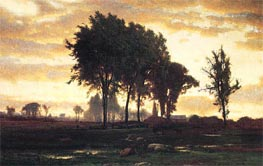 Landscape - Sunset, 1870 by George Inness | Painting Reproduction