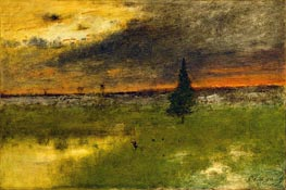 The Lonely Pine - Sunset | George Inness | outdated