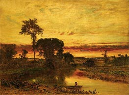 Sunset Landscape, Medfield, 1861 von George Inness | Gemälde-Reproduktion