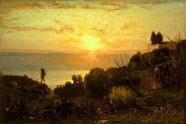 Lake Albano, Sunset, c.1874 by George Inness | Painting Reproduction