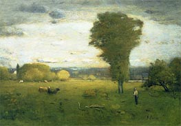 Sunlit Pasture, Undated by George Inness | Painting Reproduction