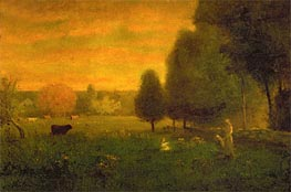 Sundown Brilliance, Undated by George Inness | Painting Reproduction
