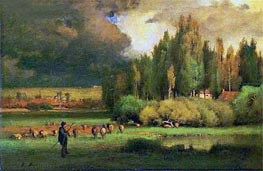 Shepherd in a Landscape, c.1875 by George Inness | Painting Reproduction