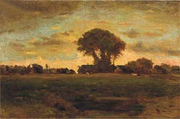 Sunset on a Meadow, 1878 by George Inness | Painting Reproduction