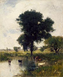 Cattle in Pool (A Summer Landscape), 1880 by George Inness | Painting Reproduction