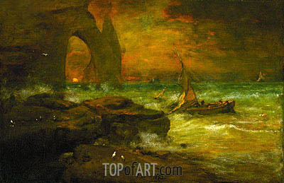 George Inness | Sunset, Etretat, 1892