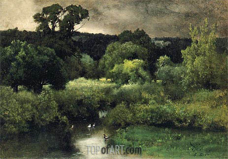 George Inness | A Gray Lowery Day, 1877