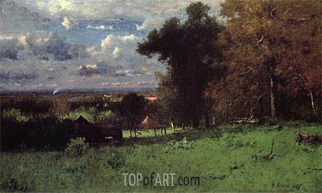 A Breezy Autumn, 1887 | George Inness | Painting Reproduction