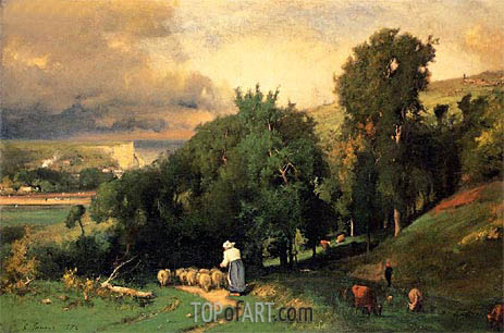 Hillside at Etretat, 1876 | George Inness| Painting Reproduction