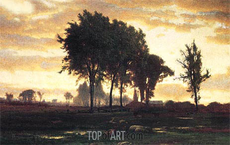 George Inness | Landscape - Sunset, 1870