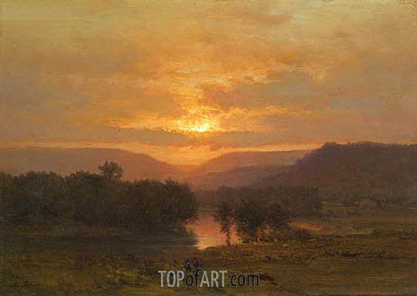 Sunset, c.1860/65 | George Inness | Gemälde Reproduktion