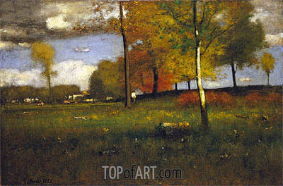 Near the Village, October, 1892 | George Inness | Gemälde Reproduktion