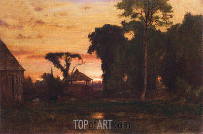 George Inness | Evening at Medfield, Massachusetts, 1869