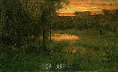 George Inness | Landscape, Sunset, 1889
