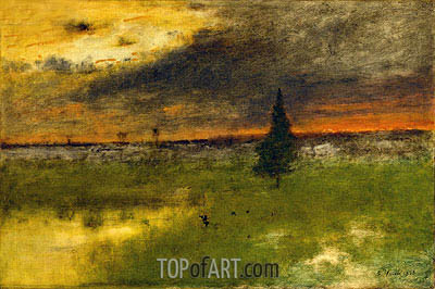 The Lonely Pine - Sunset, 1893 | George Inness | Gemälde Reproduktion