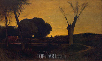 George Inness | Evening at Medfield, Massachusetts, 1875