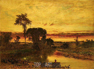 George Inness | Sunset Landscape, Medfield, 1861