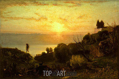 Lake Albano, Sunset, c.1874 | George Inness | Painting Reproduction