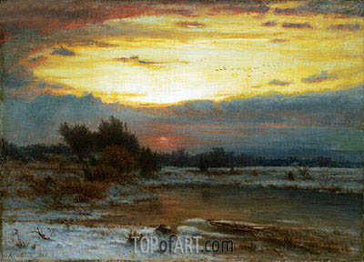 A Winter Sky, 1866 | George Inness| Gemälde Reproduktion